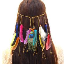 欧美波西米亚风孔雀羽毛发带女士时尚嬉皮民族风头饰发饰义乌批发