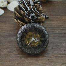鎢鋼黑多功能L57放大鏡羅馬復古機械懷表 男女士古董禮品手表批發