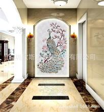 现代田园贝壳水刀拼花 天然贝壳拼图装饰画 玄关客厅电视背景墙