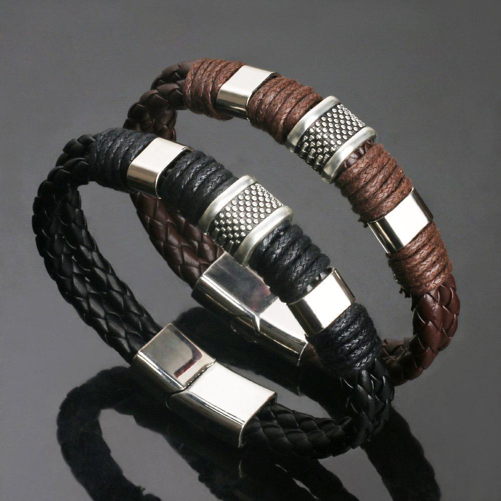 復古皮男士牛皮磁鐵扣手鏈 韓版時尚皮質 個性霸氣編制皮繩手鏈