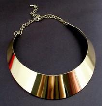 欧美潮人光面夸张女项链 金属质感镜面女项圈街拍锁骨颈圈