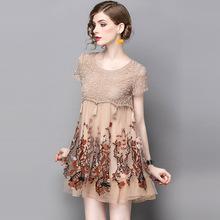 2019夏季新欧美女装1706605款圆领蕾丝网纱绣花短款连衣裙