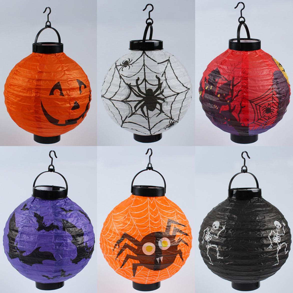 万圣节纸灯笼 鬼节恐怖装饰用品led发光折叠手提蜘蛛蝙蝠南瓜灯笼