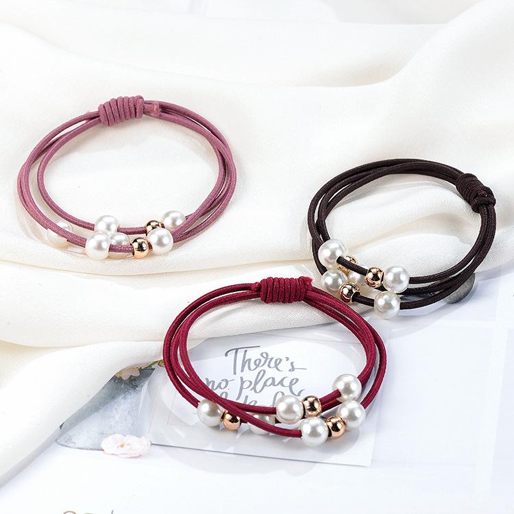 韩版三线合一珍珠打底皮筋 高弹力扎头发圈饰品手工打结头绳发绳