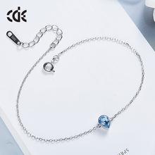 西黛尔新款简约版女生个性S925纯银手链 采用施华洛世奇元素水晶