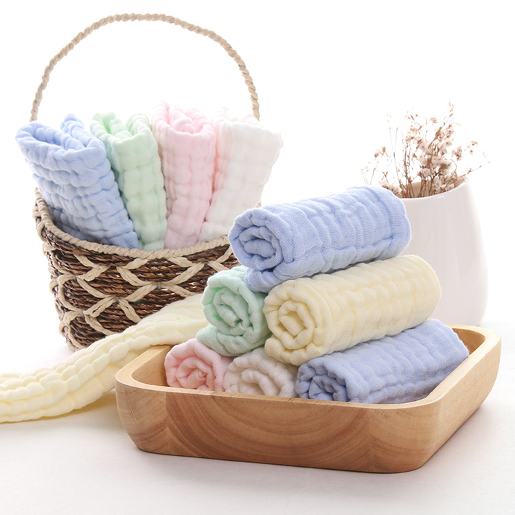 厂家批发礼品毛巾六层精梳棉纯色方巾吸水柔软纯棉口水巾儿童婴儿