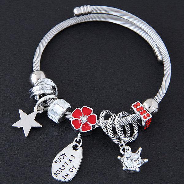 B0805欧美时尚金属百搭简洁闪耀五角星天鹅闪钻个性多元素配饰个