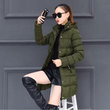 棉衣女中长款2017新款大码冬装修身女款棉服冬季加厚女装棉袄外套