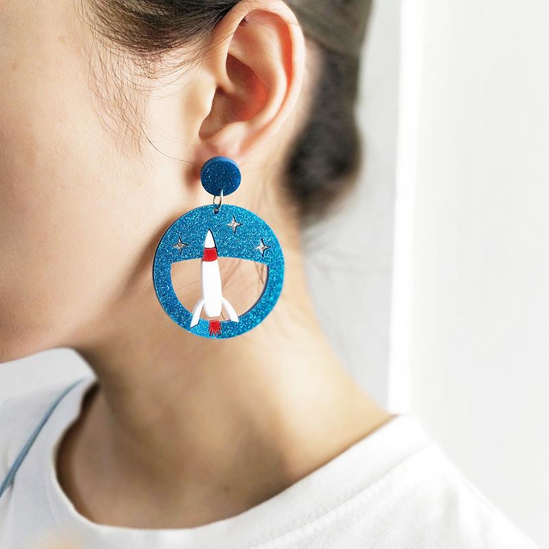厂家直销时尚可爱小动物镂空企鹅小猫飞机耳环耳饰