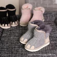 2019冬季新款兒童靴 羊毛爪子寶寶雪地靴加絨棉靴大棉鞋可親子