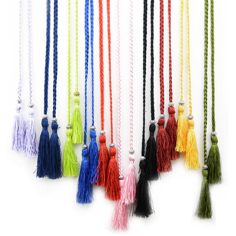 编织流苏腰带细女士皮带韩版蝴蝶结绳子裙子打结装饰腰链腰绳学生