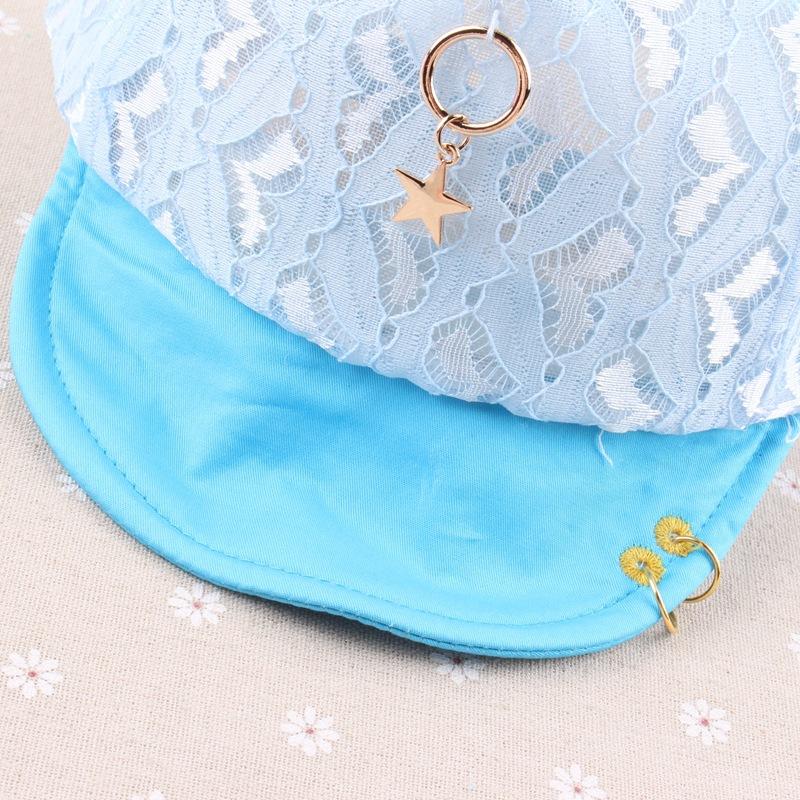 春夏新款儿童帽子 韩版软岩帽 蕾丝兔耳网帽 凉帽批发