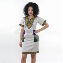 2019亚马逊标准码 紧身民族风高弹力印花包臀新款连衣裙