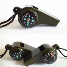 三合一指南針救生哨/溫度計 戶外多功能求生口哨子便攜帶掛繩