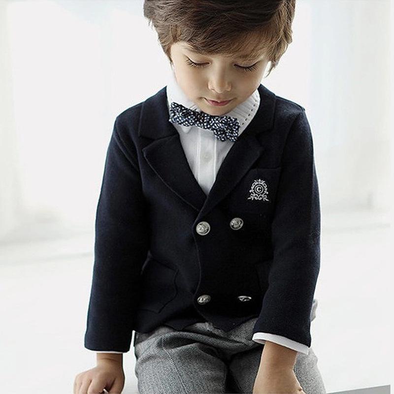 秋款韓版童裝開衫外套加盟代理一件代發梭織雙排扣舒適小西服外套