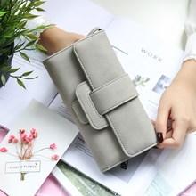 2017新款韩版钱包女长款时尚三折包多功能搭扣女士手拿包钱夹卡包