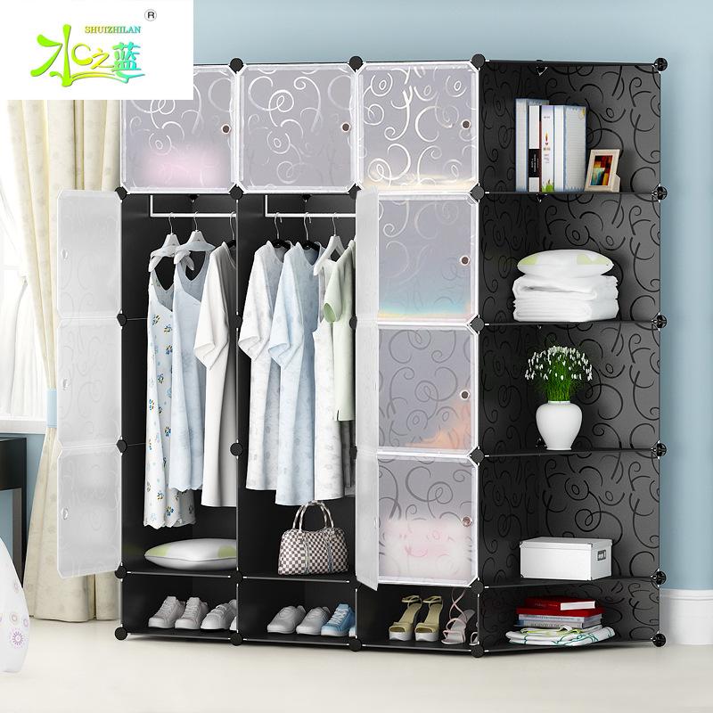 简易衣柜现代简约经济型塑料树脂收纳柜子成人卧室衣橱组装角柜