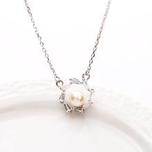 日韩个性饰品创意S925纯银锆石天然珍珠太阳花套链锁骨项链女批发