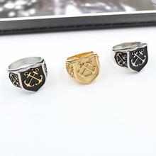 ebay爆款不锈钢男士时尚 欧美铸造船锚戒指外贸 钛钢航海情侣饰品
