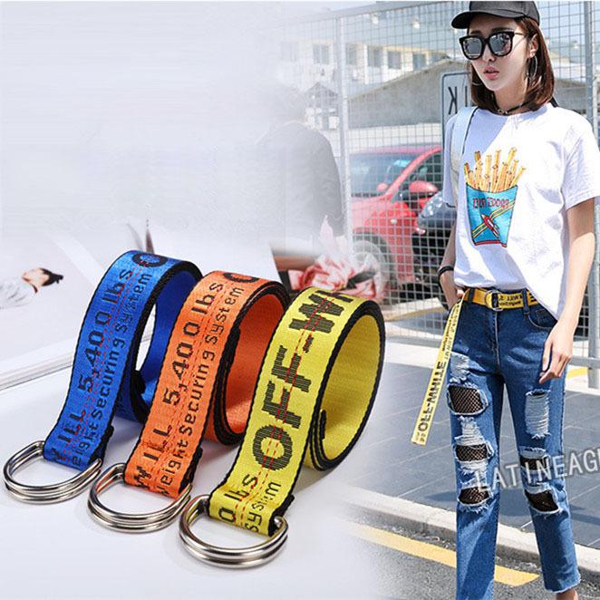 韩版装饰织布带简约字母宽腰带 男女学生时尚帆布潮流款皮带