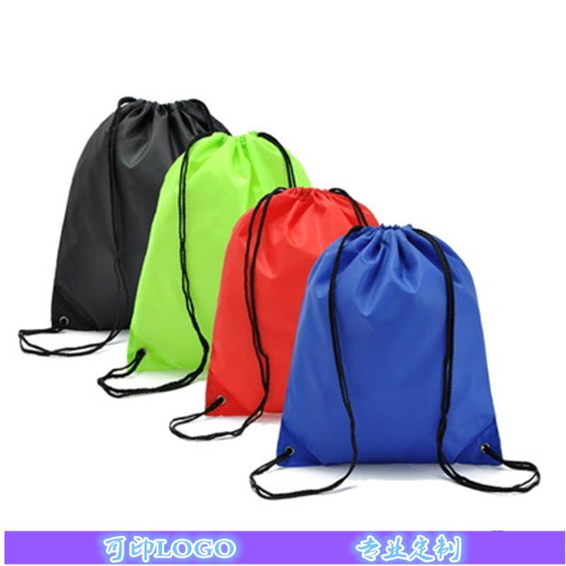 厂家定做210D涤纶束口袋 尼龙抽绳双肩背包 运动赛事收纳袋批发