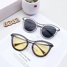 女士时尚蝶形个性大框太阳镜女 外贸墨镜炫彩反光金属太阳眼镜