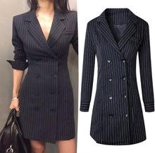 跨镜 秋款韩版女装 翻领条纹双排扣OL通勤西服修身西装连衣裙8075