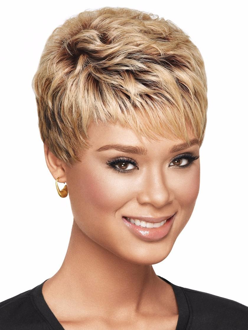 新款外贸中老年假发 女短卷发棕金渐变色假发 速卖通欧美假发短发