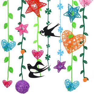 幼儿园春天吊饰藤球柳条燕子走廊挂饰树叶教室环境布置装饰不织布