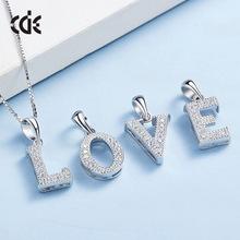 欧美简约时尚26个大写英文字母项链女S925纯银微镶锆石吊坠项饰品