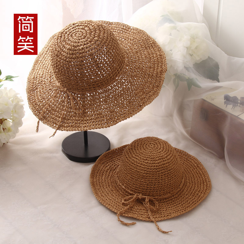 夏季亲子草帽手工钩针大沿帽 女宝宝沙滩草帽 海边度假防晒遮阳帽 ¥