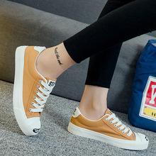 比迪比8093春夏新款百搭韩版系带女士帆布鞋休?#26800;?#24110;平跟学生单鞋
