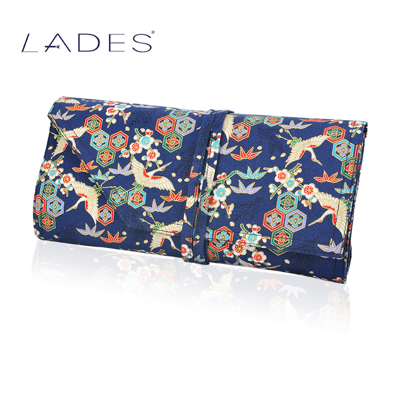 LADES blue silk spare bamboo wild cranes Blue cotton water dye printing Make-up brush package tool