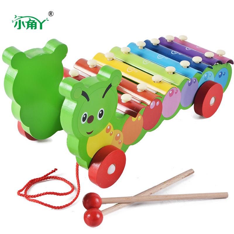 木制婴幼儿童早教音乐教具动物?#26234;?#29748;拖拉玩具车宝宝木琴