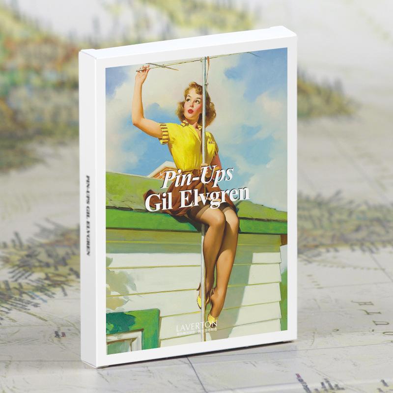 大师Gil Elvgren美国怀旧性感女郎手绘插画美术/明信片/套30张-