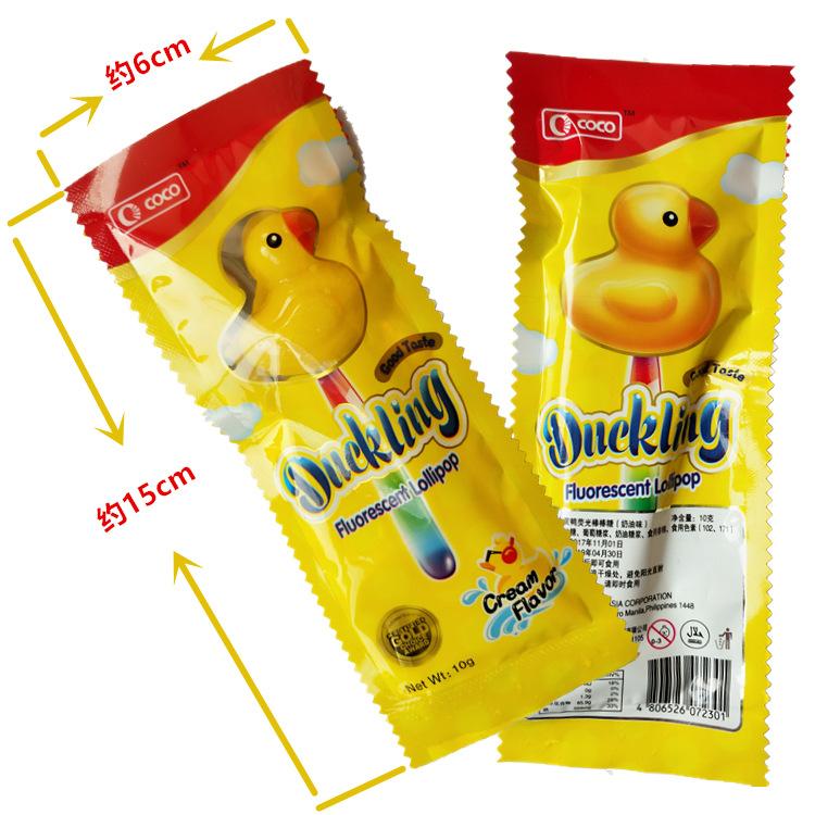 菲律宾进口糖果COCO小黄鸭荧光棒棒糖10g 单支价 喜糖礼包优选