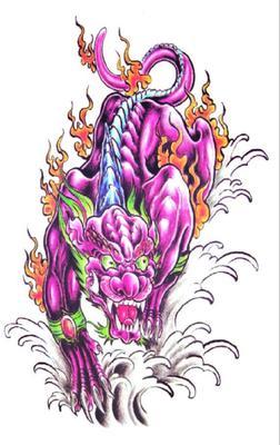 火麒麟胸口纹身贴防水男 持久 花臂 胸部 腿部穷奇貔貅仿真刺青贴