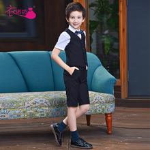 男童礼服套装花童主持人儿童表演男孩西装大童马甲钢琴演出小西服