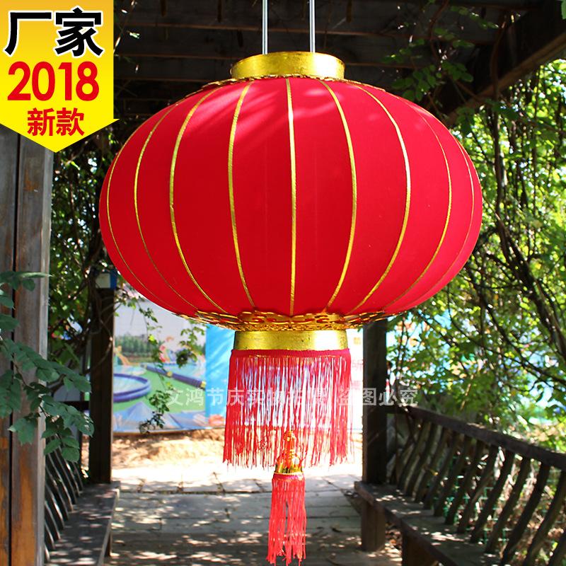 2020鼠年春节新年植绒布灯笼全大红金条长杆铁口灯笼义乌灯笼批发