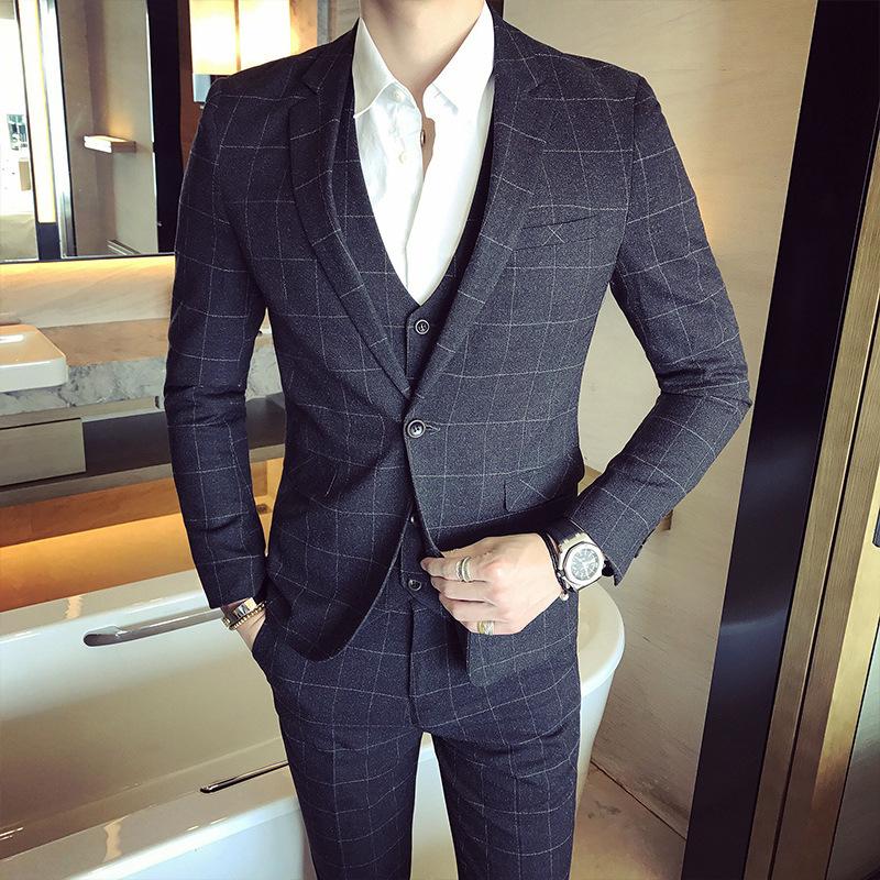 春季男士一粒扣西服三件套休闲西装套装格子新郎伴郎结婚礼服司仪
