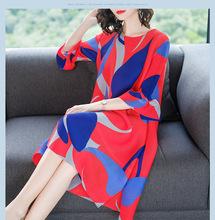 2018春夏季新款女装?#20998;?#31449;时尚气质宽松大码A字裙印花连衣裙5501
