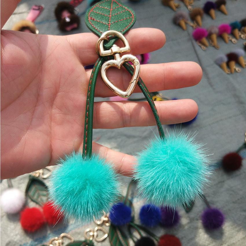 可爱水貂毛樱桃包包挂件 精致皮草钥匙扣樱桃毛球挂件创意小礼物