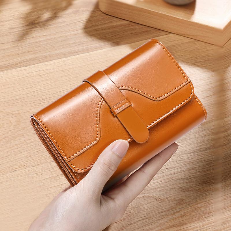 厂家直销班亚奴韩版新款钱包女短款三折复古油蜡牛皮搭扣小零钱夹