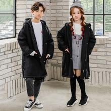 韩版冬季中大童中大衣长款印花棉衣新款男女童连帽亲子装风衣外套
