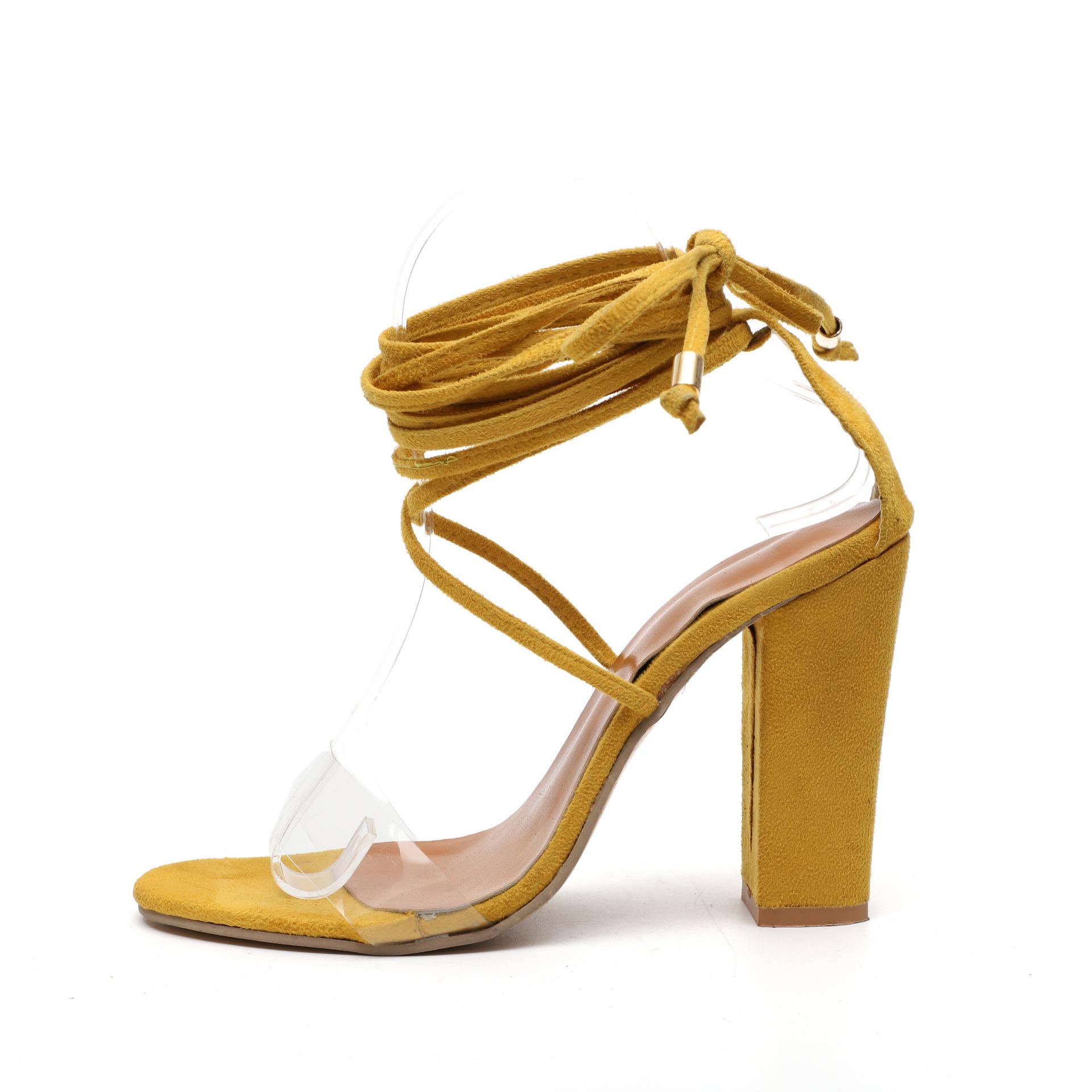 外贸现货wish亚马逊新款高跟绑带粗跟大码欧美水晶透明凉鞋女批发
