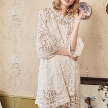 很仙 很美 夏季100%真丝刺绣透视女装 森女蕾丝连衣裙