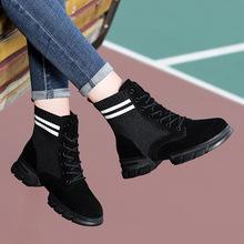 2018百年纪念1811批发圆头平跟女靴 系带时尚女短靴 防水台女鞋子
