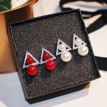 s925银针日韩版时尚百搭耳钉女个性潮几何三角形珍珠耳坠气质耳饰