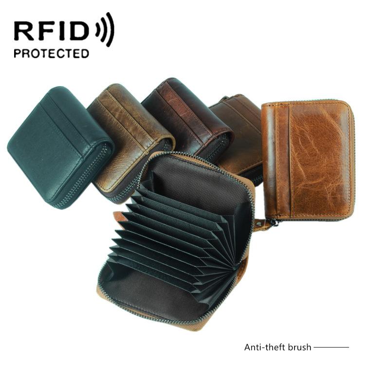 頭層牛皮rfid信用卡卡包風琴韓版卡包卡套橫豎款名片包多卡位真皮