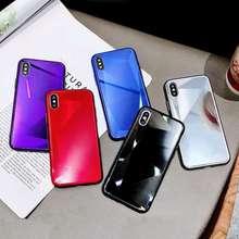 菱形镜面iPhone7plus手机壳8plus简约纯色?#36824;鸛Smax玻璃套7?#35270;?s